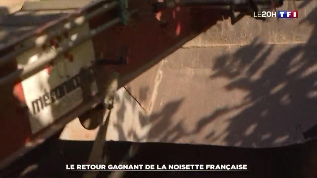Machine Mecanicagri vue dans un reportage TF1 sur la noisette du Lot et Garonne